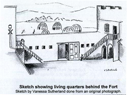 Sketch showing living quarters behind Fort Nongqai.