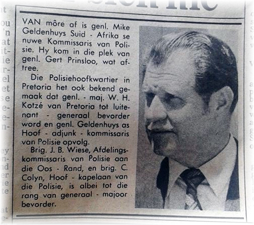 Article in BEELD Newspaper, dated 31 May 1978, announcing the appointment of General Mike Geldenhuys as the new Commissioner of Police.