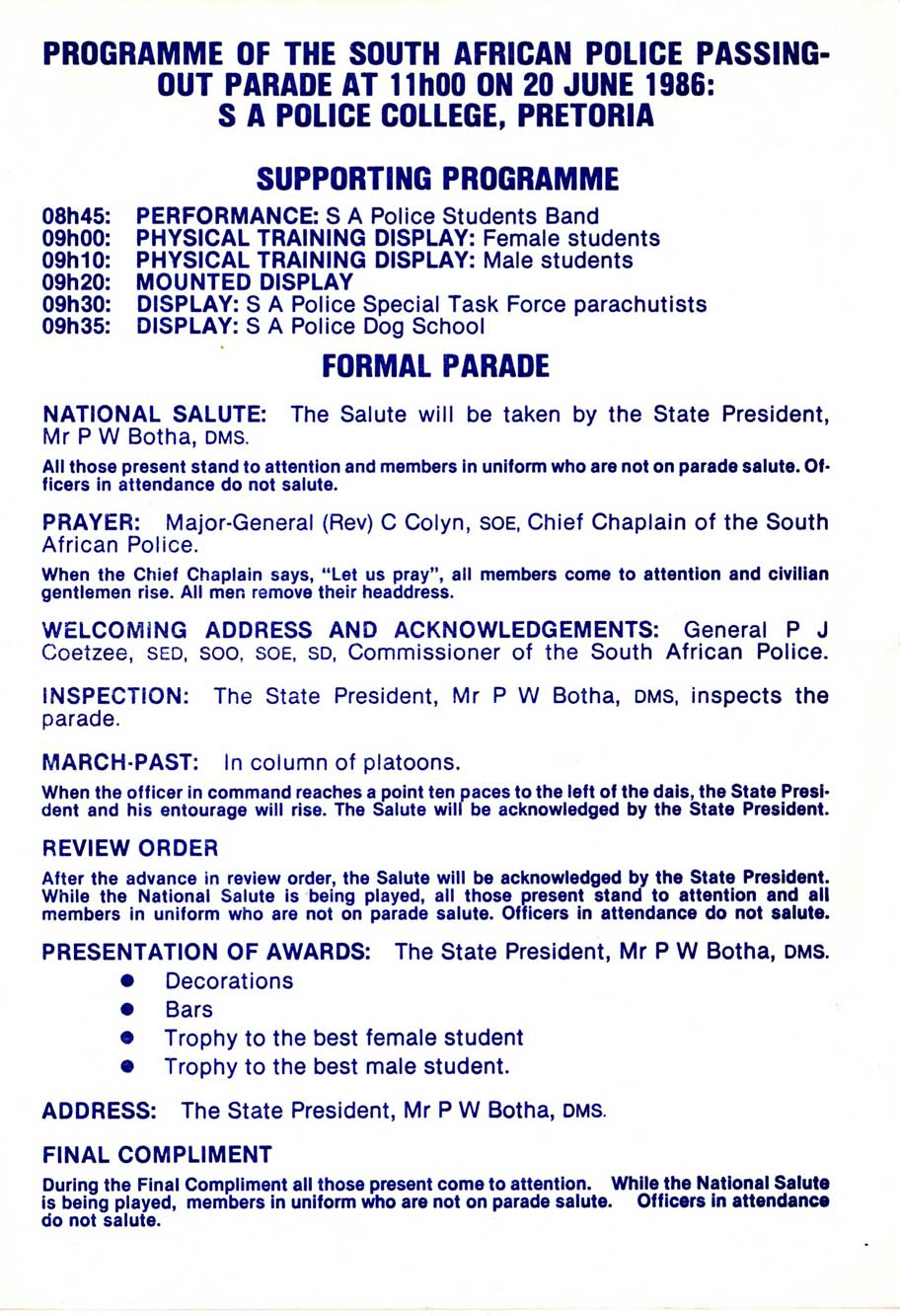 Programme of the South African Police passing-out parade at 11h00 on 20 June 1986