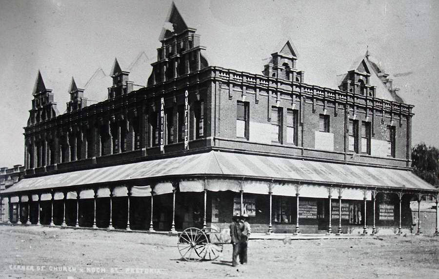 Building on the corner of Church- and Koch Street (now Bosman Street), Pretoria. (Date Unknown)