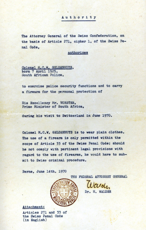 Letter of Authority by Swiss Confederation