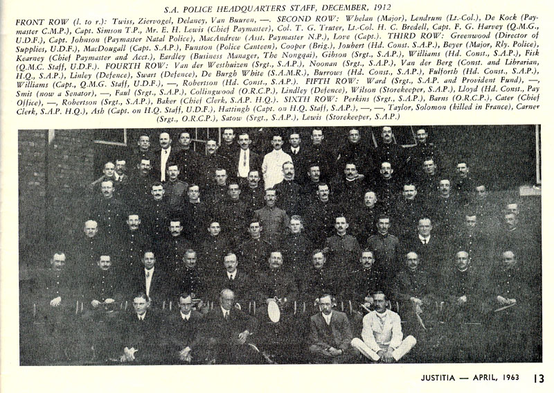 SA Police Headquarters Staff, December 1912