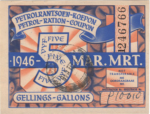 Petrol Ration Coupon - March 1946